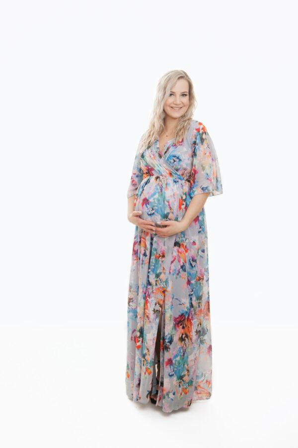 Kati- õhuline lilleline maani ulatud poolpikkade varrukatega suvine kleit