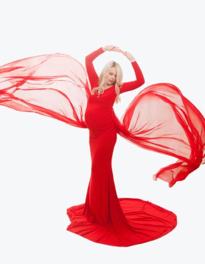 Erika- võluv punane lendleva sabaga pildistamiskleit